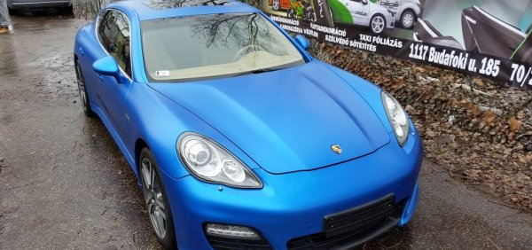Panamera 3M Satin perfect blue wrapping autó fóliázás